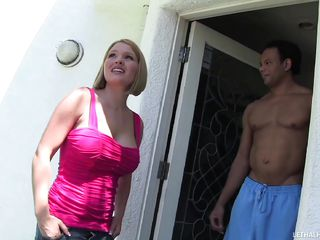 krissy lynn is shocked at size of gloryhole cock